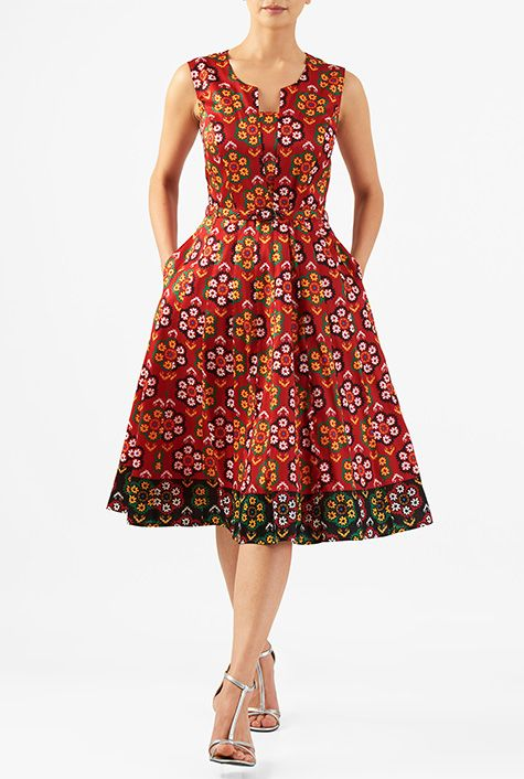 Split front belted floral print dupioni dress #eShakti