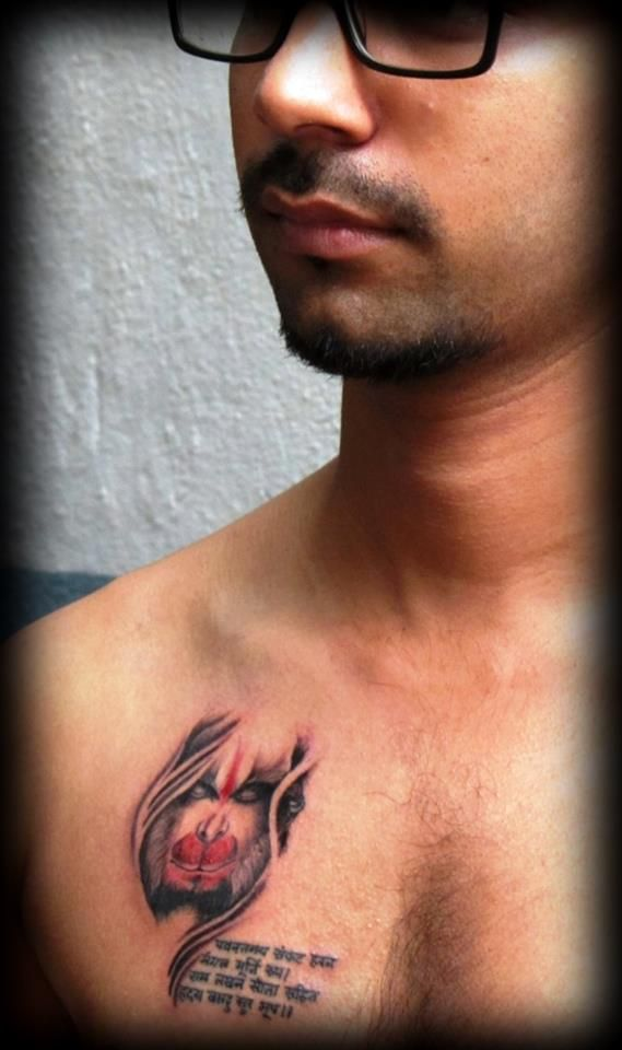 Custom Hanumān tattoo : Lord Hanumān - The humbly powerful Hindu Deity. Hanuman was an ardent devotee of 'Rama' according to Hindus legends. Several texts also present him as an incarnation of the Lord 'Shiva'. He is a repository of incomparable strength and intellect. So, Bow down to Hanumān, the slayer of demons.. #Shashidhar #Dhondye #tattoo #customtattoo #Mumbaitattoo #Punetattoo #tattooartist #indiantattoo #colortattoo #potraittattoo #realism #hyperrealism #lord  #hanuman #ram