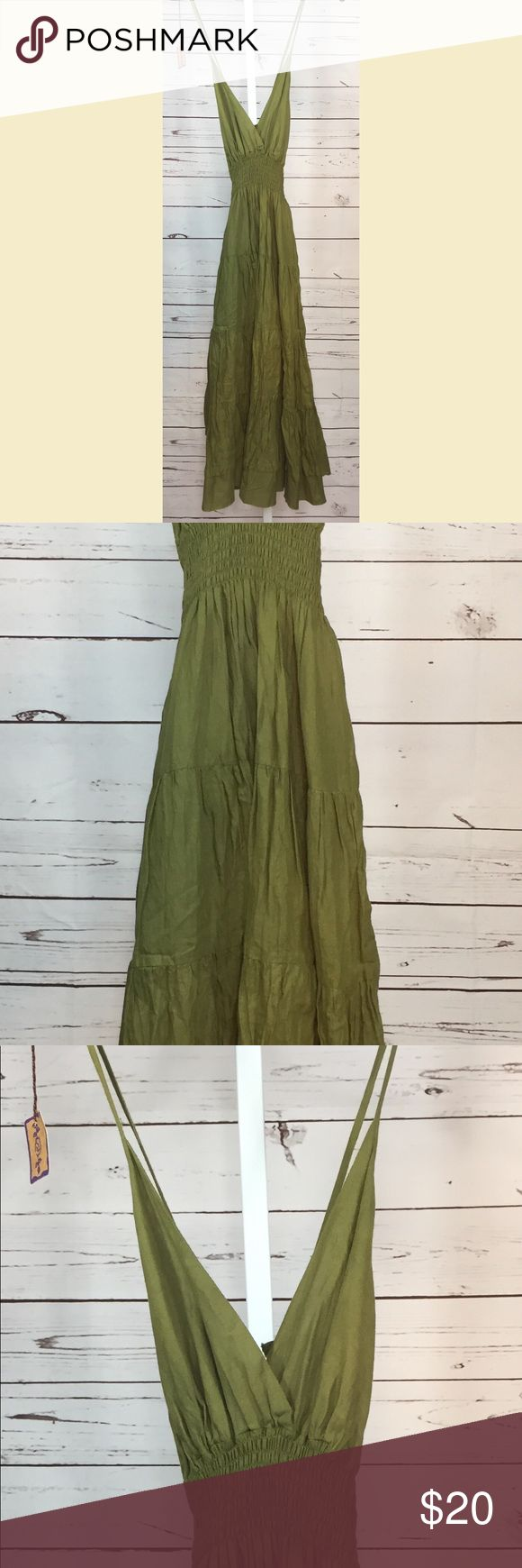 "Green Boho Hippie Festival Dress Medium NEW Green Sleeveless Spaghetti Strap Boho Hippie Dress. Size Medium. Smocked Waist. Full length skirt. 100% Cotton. 45"" long. New with tags - Unworn. Unbranded. Perfect for Summer Music Festivals and concerts, or casual wear. I ship same or next day from a smoke free home. I try to describe items honestly and price them fairly. Feel free to make an offer or ask any questions. I'm happy to help. I feel this dress runs a bit smaller than a traditional…"