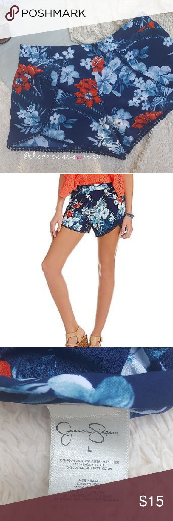 Tropical Print Pompom trim Jessica Simpson Shorts These cute tropical print shorts with their Pompom fringe and stechy waistband with its easy pull on style and vibrant print are going to be super fun for those hot summer days Jessica Simpson Shorts
