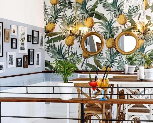 25 Restaurants Hotels With The Most Beautiful Wallpaper Coffee Shop Interior Design Tropical Style Interior Most Beautiful Wallpaper