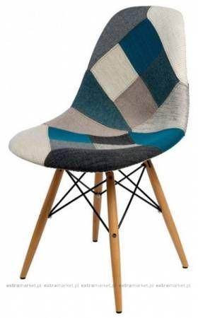 Krzesło P016 tapicerowane niebiesko szare