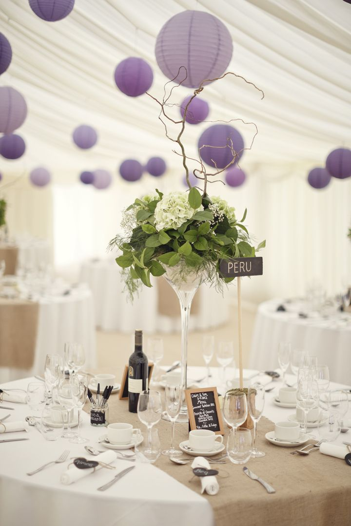 wedding marquee with purple lanterns - Boho Weddings™