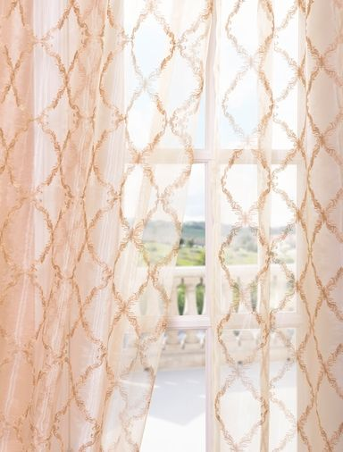 Gia Gold Embroidered Sheer Curtain Curtains Pink