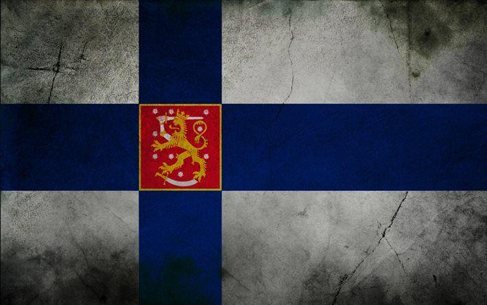Finnish flag, grunge, flag of Finland, flags, Finland flag