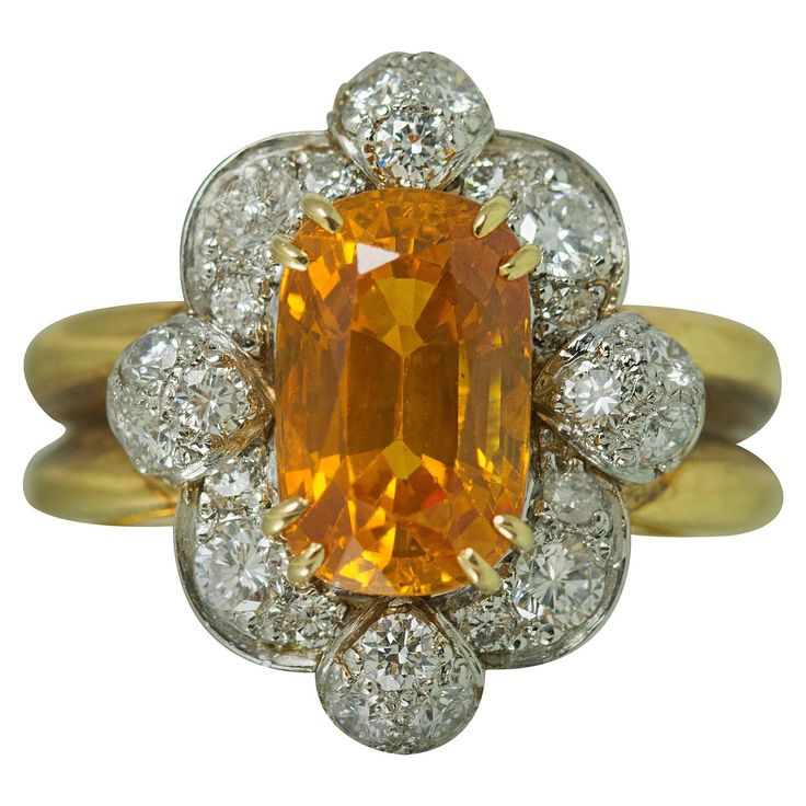 Keith Davis Sapphire Diamond Gold Ring | From a unique collection of vintage more rings at https://www.1stdibs.com/jewelry/rings/more-rings/