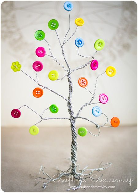 "Button tree - by Craft & Creativity This would be an easy, ""day"" craft, the kids could help, and u could use whatever color buttons go with the ""Season/Holiday"" decor in your house..fun!"
