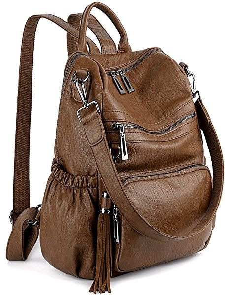 c1376f84e2f3 Amazon.com  UTO Women Backpack Purse PU Washed Leather Convertible Ladies  Rucksack Tassel Zipper Pocket Crossbody Shoulder Bag Brown  Shoes