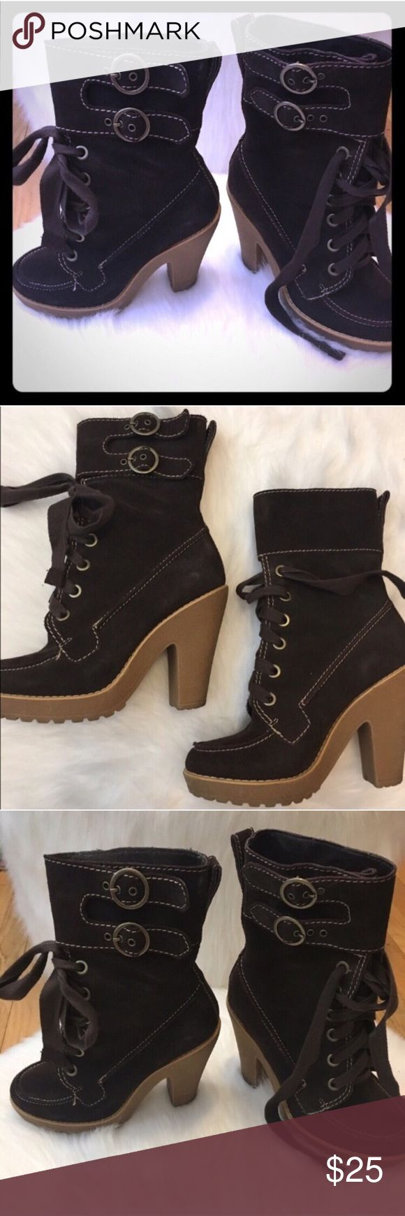 🖤Chocolate High Heeled Buckled Boots-Size 6 Beautiful Chocolate Suede Buckled High Heeled Boots. Purchased at DSW Shoe Warehouse. Size 6.              *Stop by my closet for more great items to bundle!* *Submit respectable offers using the private offer feature.* ⬇️ * 🚫 I do not discuss pricing in the comments section. * 🚫Trades. * ✔️10% off 3 or More Bundle! * ✔️Respectable Offers Welcome!  * ✔️Reasonable Counters Considered! DSW Shoes