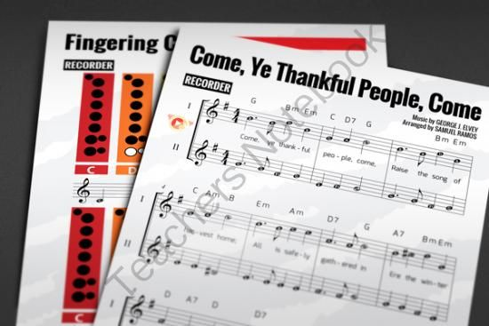 """RECORDER SHEET MUSIC: Come, Ye Thankful, Come with FINGERING CHART from HardPlayed on TeachersNotebook.com -  (9 pages)  - """"Come, Ye Thankful People, Come"""" is a harvest hymn written in 1844 by Henry Alford. It is often sung to the tune St. George's, Windsor by George Job Elvey."""