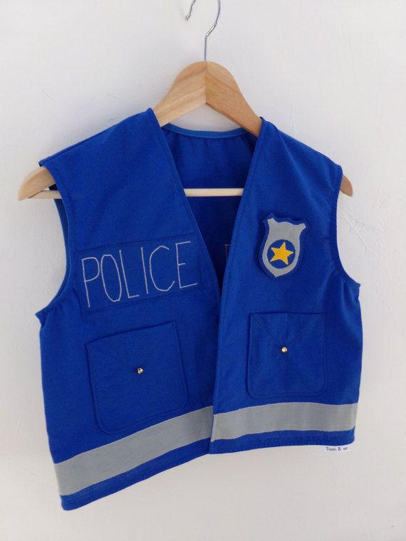 Kids Police Officer Vest Dress up Handmade Cotton by TootsAndMe