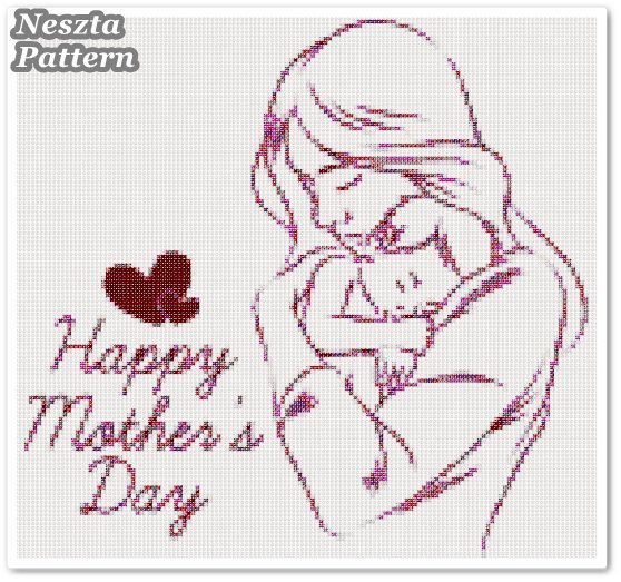 Excited to share the latest addition to my #etsy shop: Mothers day Cross Stitch Pattern, Mothers day x stitch pattern, colorfull Mother and baby Cross stitch Embroidery, Embroidery pattern http://etsy.me/2Ar7i6R #supplies #crossstitch #embroidery #crossstitchpattern #d
