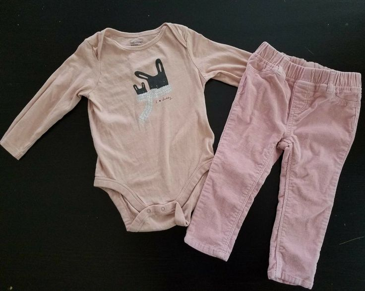 Baby Gap girl outfit Sz 18-24 Long sleeve I love daddy bodysuit corduroy pants #Gap #Everyday