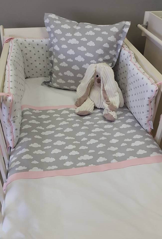 Our #Clouds fabric is perfect to match with #Pink, to make that little #DreamLand for any #BabyGirl!  #BabyBedding #BabyLinen