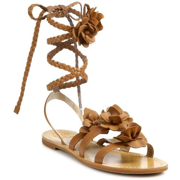 ffd050fcd Tory Burch Blossom Gladiator Leather Sandals ( 118) ❤ liked on Polyvore  featuring shoes