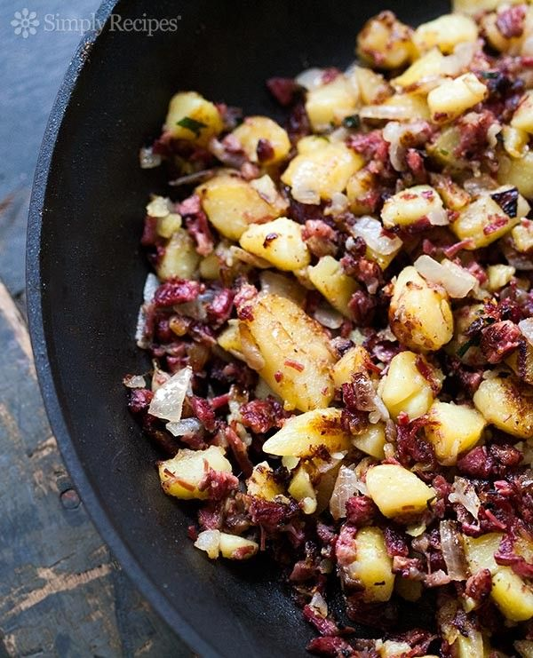 Corned Beef Hash ~ Chopped corned beef and potatoes, fried up with onions, and served as a side or for breakfast with eggs. ~ SimplyRecipes.com