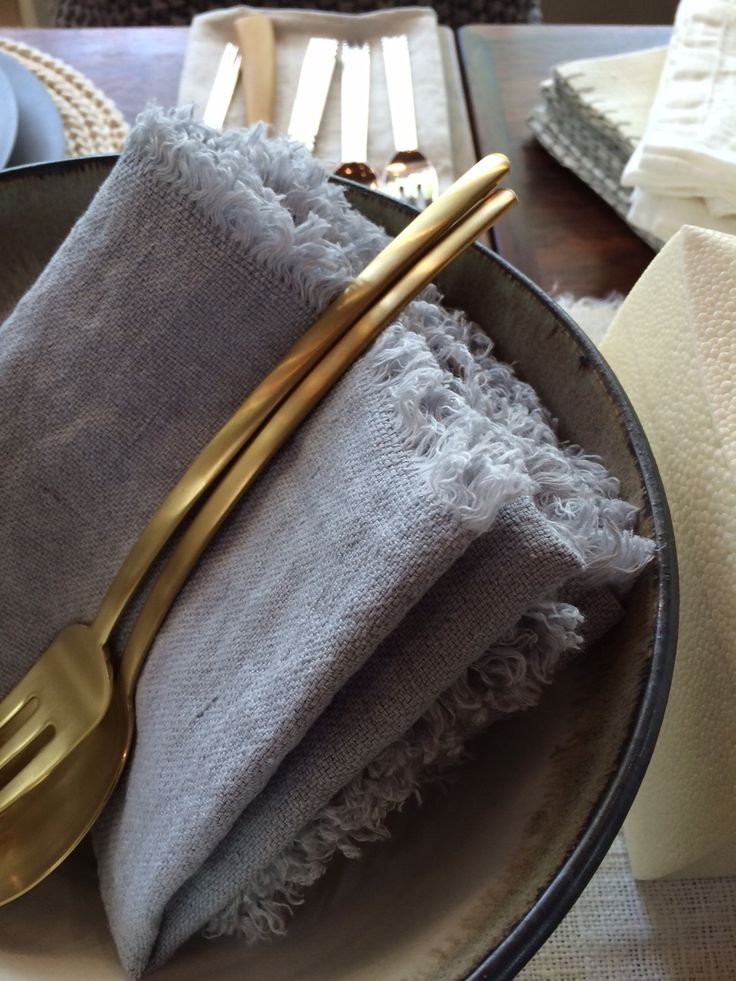A detail shot of Axlings Linne and Mepra Due Oro flatware. Casual luxury, home design. http://monc13.com/