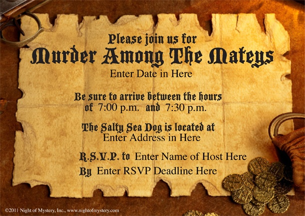 Download an invitation for this pirate murder mystery party