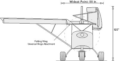 The folding wings option (FWO) allows the STOL CH 701's wings to be folded back alongside the rear fuselage, providing added convenience for storing or towing the aircraft. To fold the wings, the four wing bolts must first be removed, and then the wing is turned upward 90º and folded back alongside the fuselage, pivoting on the folding wing 'universal hinge' attachment. The folding wing option does not change the wings' attachment points, and thus does not weaken structural attachment…