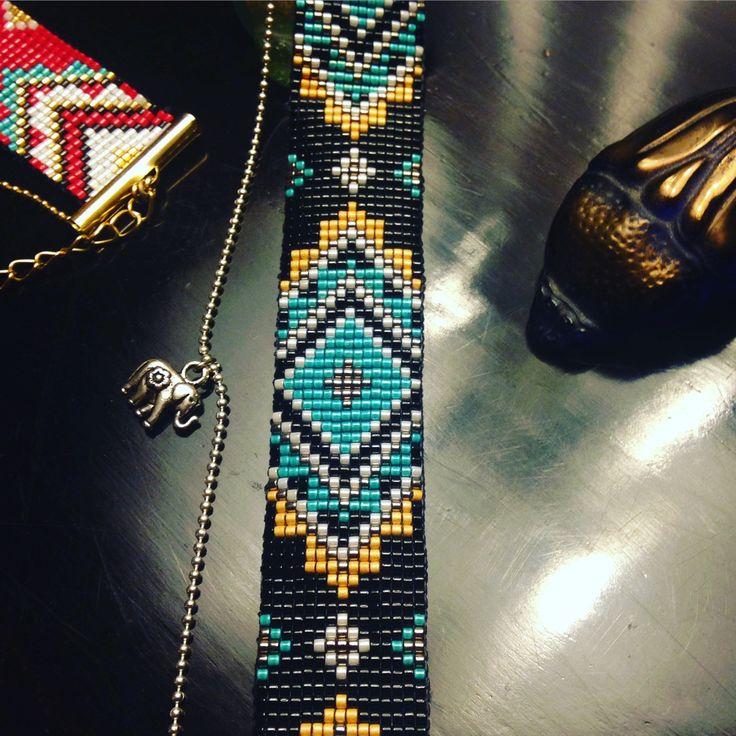 bracelet manchette en perles miyuki tisses et chane billes avec lphant mandala noir vert