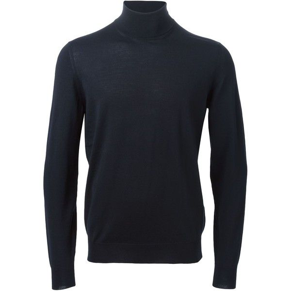 Drumhor Wool Turtle-Neck Sweater ($265) ❤ liked on Polyvore featuring men's fashion, men's clothing, men's sweaters, blue, mens wool sweaters, mens blue sweater, mens turtleneck sweater, mens woolen sweaters and mens wool turtleneck sweater