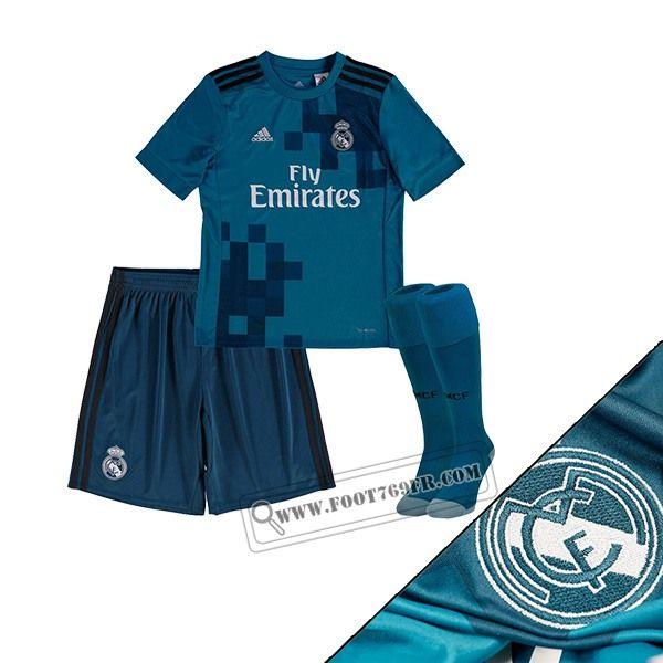 Promotion: Magasins Foot769fr Ensemble Flocage Maillot De Real Madrid Enfant Third Bleu 2017-2018 Thailande Personnalisé