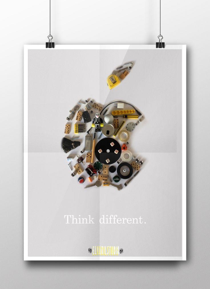 """Think Different Apple"" Cartel fotográfico. Tecnica: fotografiara digital edicion Photoshop"
