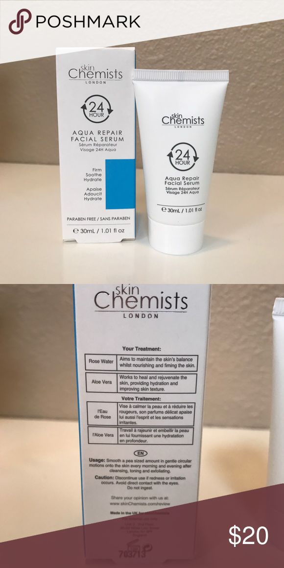 Skin Chemists London 24Hr Aqua Repair Facial Serum Brand New in box. Paraben Free face Serum with rose water and aloe Vera. Skin Chemists London Makeup