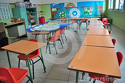Nursery school desks in a Kindergarten class