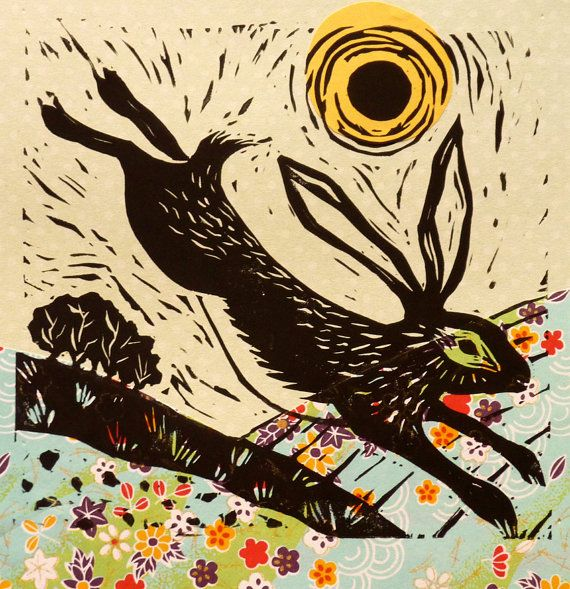 Hey, I found this really awesome Etsy listing at https://www.etsy.com/uk/listing/221326580/hare-lino-print-printed-on-flowery