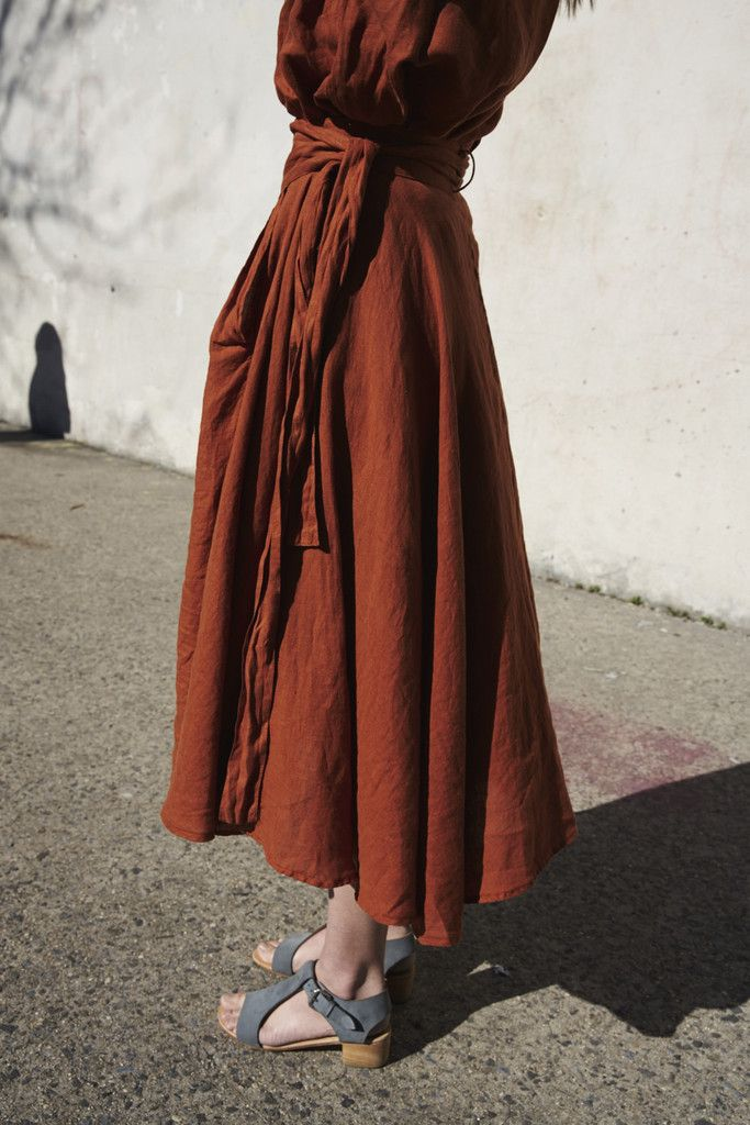 Black Crane Wrap Skirt in Brick   Oroboro   Brooklyn, New York