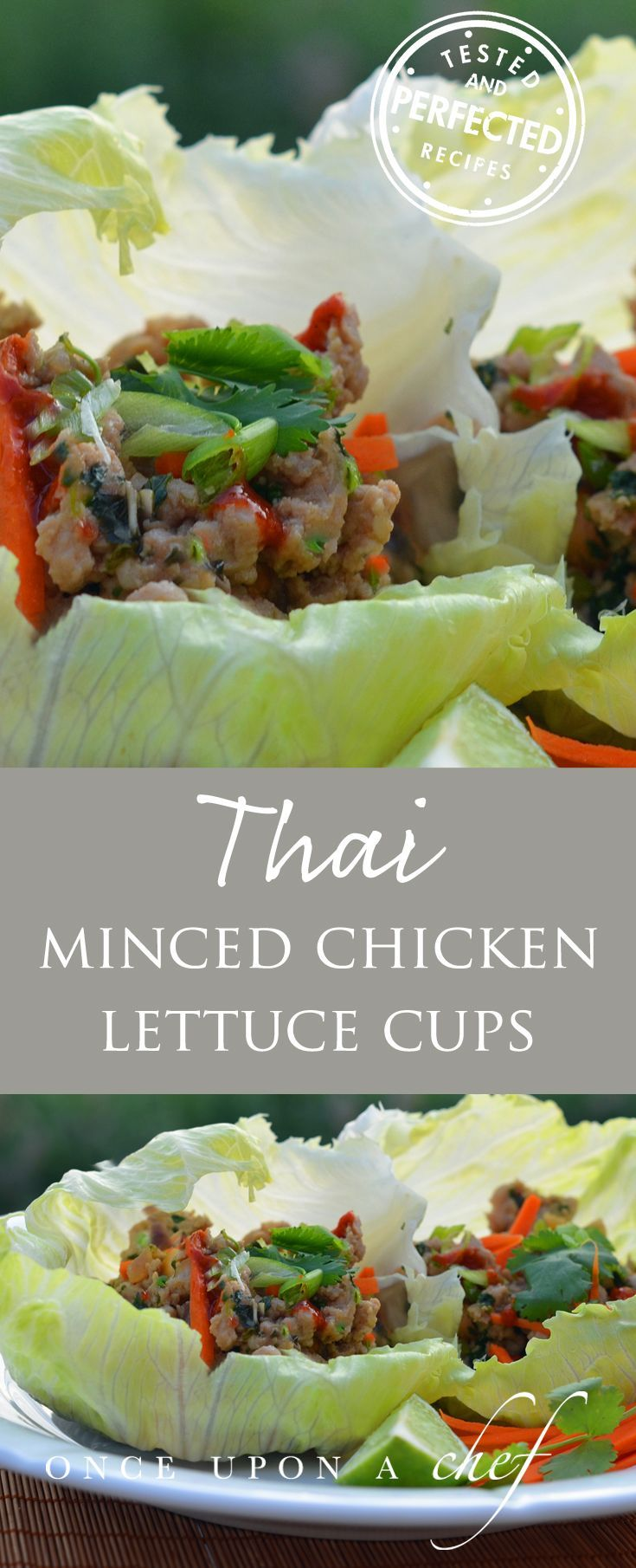 Thai Minced Chicken Lettuce Cups Really good with peanut sauce and marinated cucumbers, look for those pinned recipes also. Would cut back a little on the soy sauce just because it's not needed.