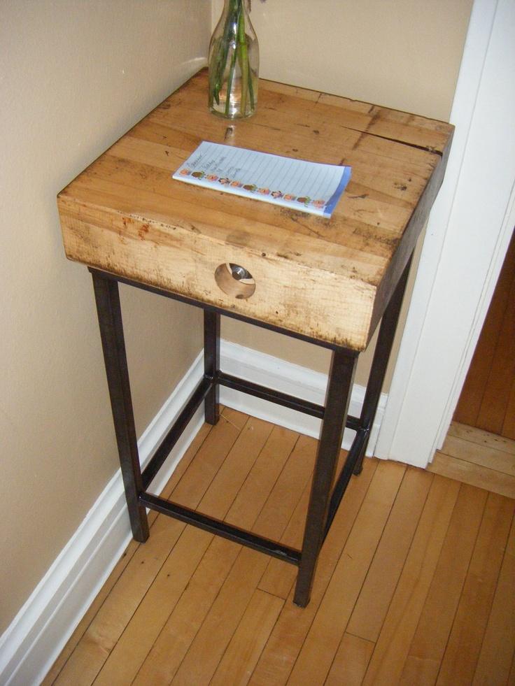 Vintage industrial pedestal table or stool repurposed