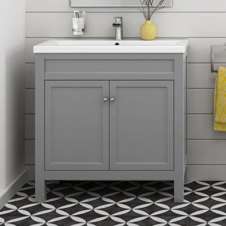 Traditional Bathroom Furniture Storage Vanity Unit Sink Basin Grey 600 mm