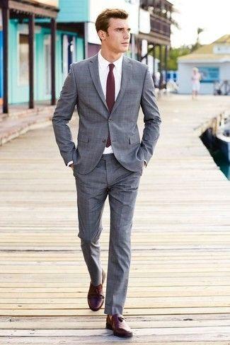 Men S Grey Plaid Suit White Dress Shirt Burgundy Leather