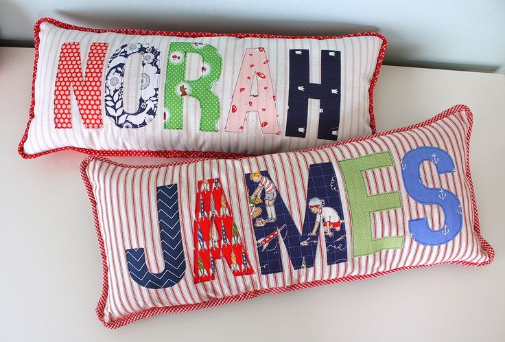Simple name pillows made with applique letters - a fun, personalized gift made with fabric scraps. Use fusible web and machine stitch.