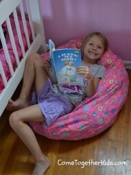 """Stuffed Animal Storage Idea. Simple bean bag cover (Bed Bath Beyond) around $10 and fill with stuffed animals.  It's a little """"lumpier"""" than a regular bean bag, but still comfy enough to make a good reading spot.  (Plus the room looks much better!)"""
