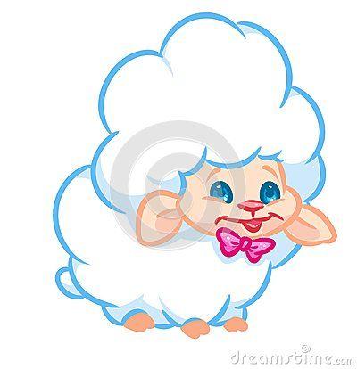 White cute fluffy fun sheep cartoon illustration