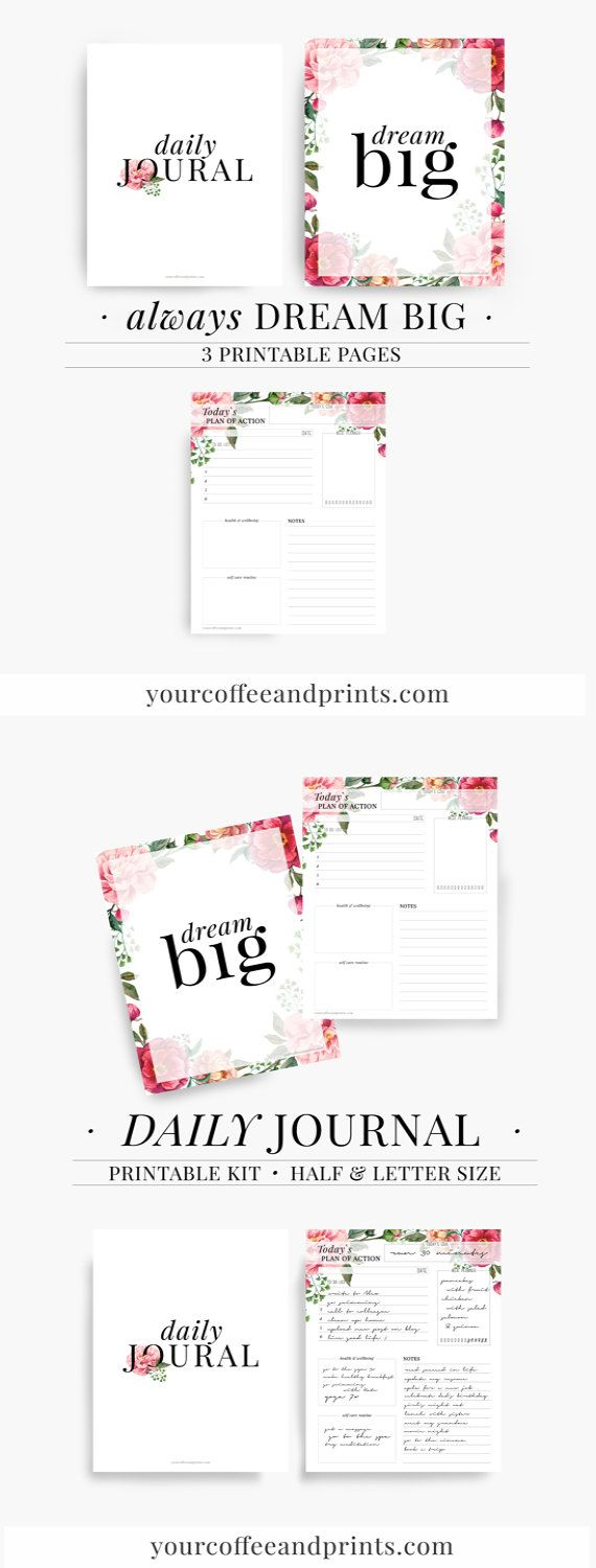 Daily Planner Meal Planner Daily Plan of by YourCoffeeAndPrints