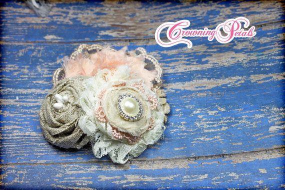 Peach Bridal Hair Piece, Burlap Headband, Ivory, Burlap, Light Peach, Hair Bow, Clip, Flower Headband, Beige, Burlap Hair Accessories on Etsy, $18.00