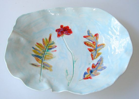 Hand painted Ceramic platter decorative plate woodland plate serving platter Queen Annes Lace Leaf Platter pottery platter turquoise & 64 best Serving Dishes images on Pinterest | Porcelain Serving ...