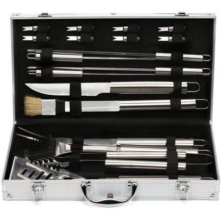Estilo EST0239 19 Piece Stainless Steel BBQ Grill Tool Set with Aluminum Storage Case