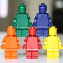 Lego Minifig Crayons. // My suggestions: melt at 190-200* F (much higher and you get waxy separation really easily). Use smaller cans - like for canned veggies, rather than coffee-size (makes pouring into molds easier). After pouring into molds allow to sit 15 min, then place in freezer for 15-20 min. If making multiple colors, use one mold for the same color until finished - if you don't get all the residue out, your crayons will be mixed colors.