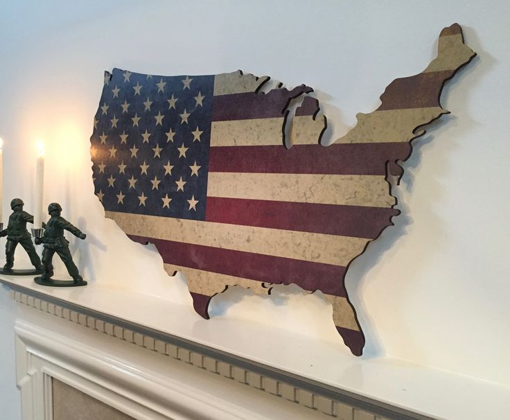 Wood Map With Distressed American Flag Print Fine Line