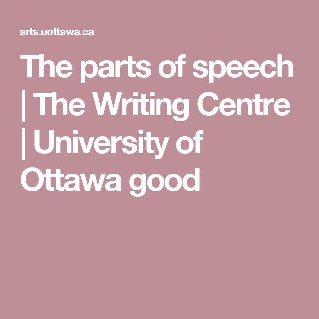 The parts of speech | The Writing Centre | University of Ottawa good