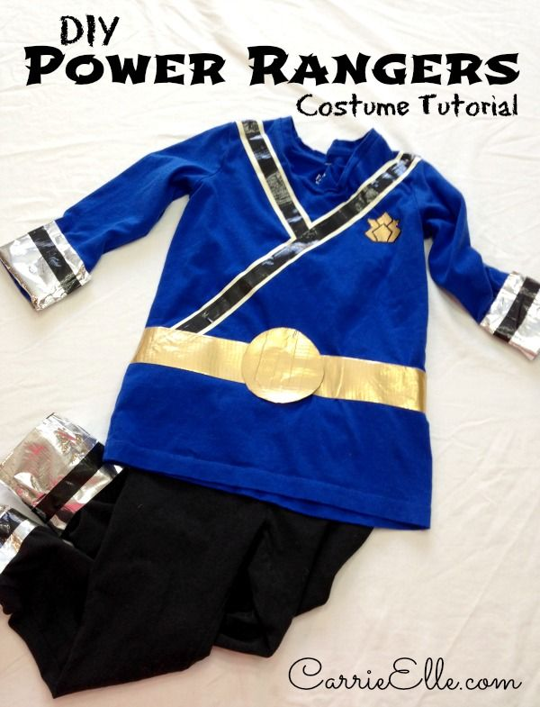 DIY Power Rangers Costume - no sewing...just tape. Anyone can make this! It's perfect or Halloween or just play time!