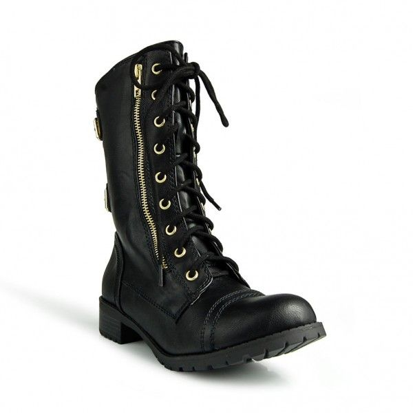 ladies boots for small calves | Home > Shoes > Soda Women's DOME Combat Lace Up Mid Calf Boot