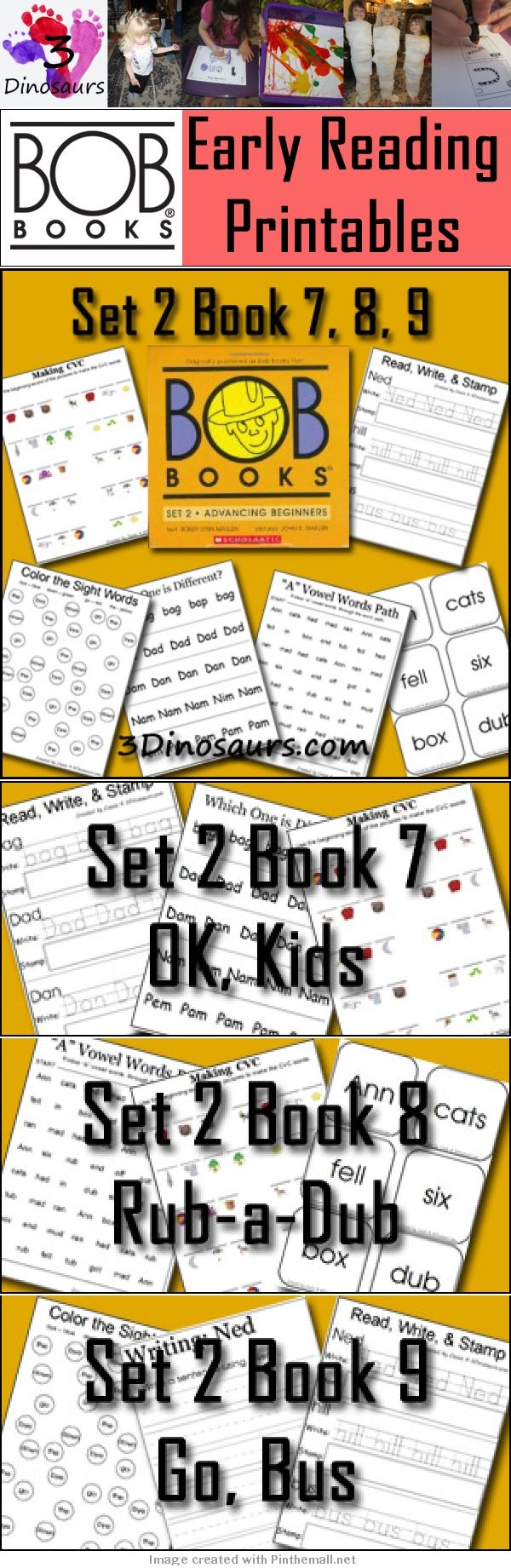 The FREE BOB Book printables are here for books 7-9 of Set 2! | Book 7: OK, Kids | Book 8: Rub-a-Dub | Book 9: Go, Bus | Short Vowels i u and o | This week you will find Vowel Word Paths, Read Write & Stamp, Making BOB Book Words, Write a Sentence with the Word, Which One is Different, Color the Sight Word, and Cube Flashcards. All the words from the books are used. I hope you enjoy them as much as we have!