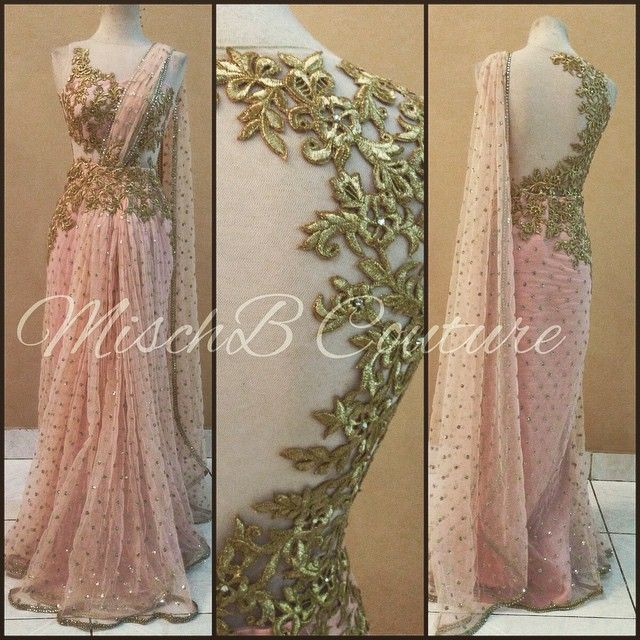 Blush Pink Embroidered #Saree #Gown By Misch B Couture.