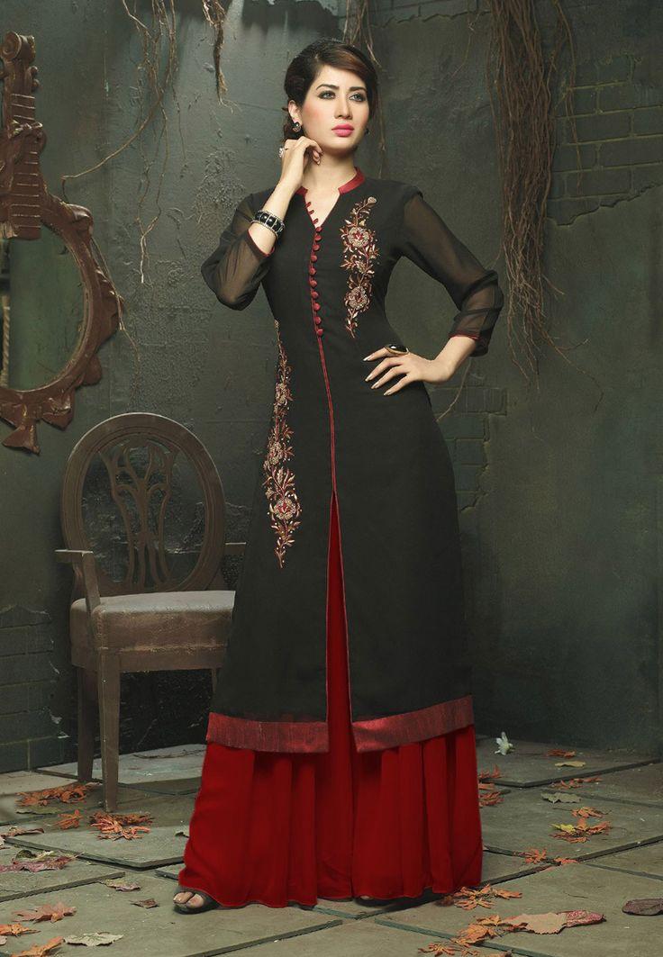 Buy Embroidered Georgette Pakistani Suit In Black online, work: Embroidered, color: Black, usage: Party, category: Salwar Kameez, fabric: Georgette, price: $134.24, item code: KBZ136, gender: women, brand: Utsav